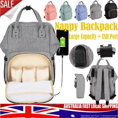 Multifunctional Baby Diaper Nappy Backpack Waterproof Mummy Changing Bag USB