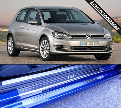 VW Golf Mk7 TSi (Released 2013) 2 Door Stainless Sill Protectors / Kick Plates
