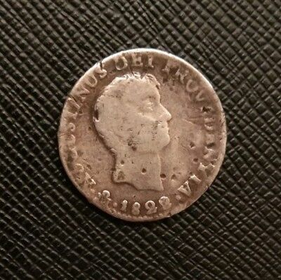 Mexico 1822 1 Real Mo JM  Empire Of Iturbide One Year Type Silver Mexican Coin