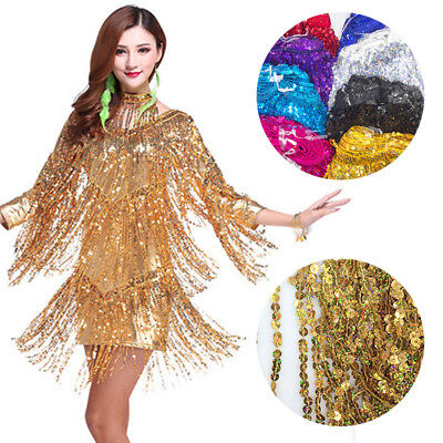 Encryption Laser Sequins Lace Tassel Trim Fabric DIY Latin Dance Costume By Yard