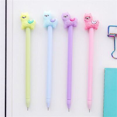 2pcs Cute Cartoon Alpaca Gel Pens Black Ink Signature Pens Kids Praise Gifts