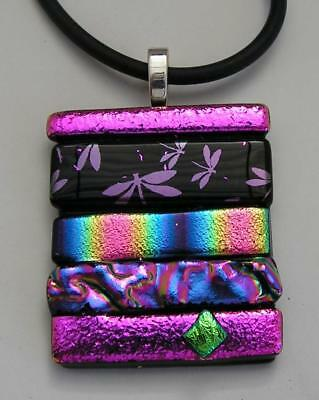 "Handmade Dichroic + Art Glass Freeform Pendant: "" Beautiful Mixture Its Great !"""