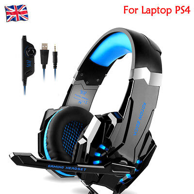 For Laptop PS4 Subwoofer 3.5mm Gaming Headset Mic LED Headphones Stereo Surround