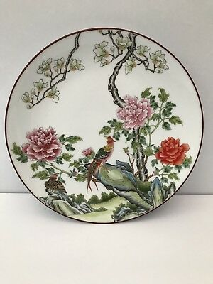 """Vintage Chinese Plate Bird Design Alsco Porcelain Decorative Wall Hung  9.5"""""""