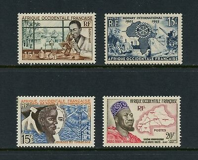 P410 French West Africa 1953/8  see scan rotary medicine maps  4v.  MNH