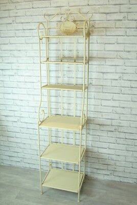Bathroom Shelving Tall 6 Shelf Unit Shabby Chic distressed Cream With Scrolls
