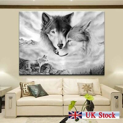 Black&White Wolf Nature Canvas Wall Art Painting Home Hanging Picture Decor