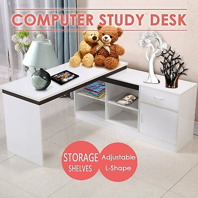 Corner L-Shape Computer Desk Executive Shelves Drawers Gaming Study Table Office