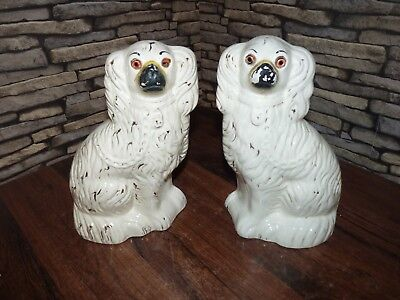 Pair Of Antique Vintage Staffordshire Over Mantle Pottery Spaniel Fire Side Dogs