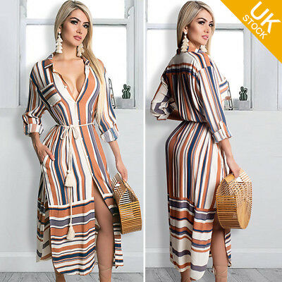 Women Button Down Shirt Dresses Stripe Printed Long Sleeve Split Cover up