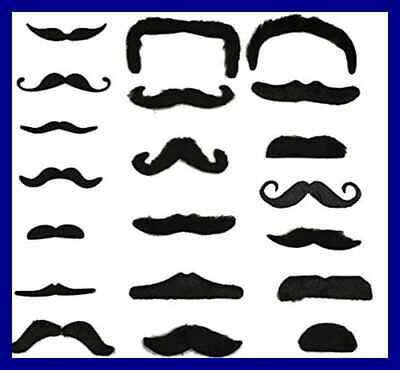 Pack of 12 Self adhesive Assorted Fake Moustache Mustache Set Fancy Dress Party