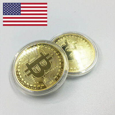 Bitcoin Gold Plated Physical Commemorative Collector Gift Virtual Coin USA