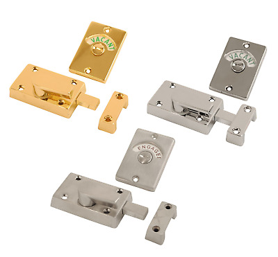 Chrome or Brass Indicator Bolt Vacant / Engaged Bathroom WC Toilet Door Lock