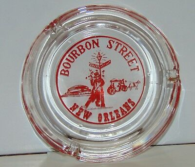 """Ashtray Bourbon Street New Orleans Clear Glass souvenir 4.5"""" preowned"""