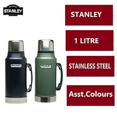 1L STANLEY FLASK STAINLESS STEEL VACUUM BOTTLE CLASSIC THERMOS HOT DRINKS - New