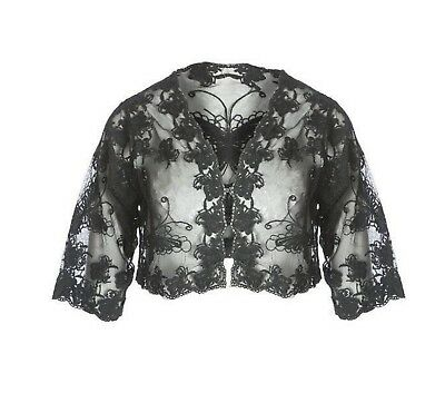 JAYLEY Vintage Lace Bolero Jacket - Black - One Size - Brand New With Tags