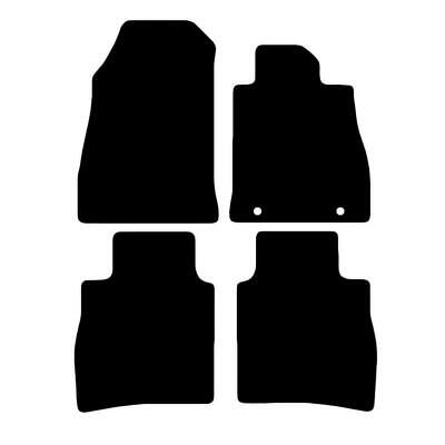 Tailored Black Car Floor Mats Carpets 4pc Set with Clips for Nissan Pulsar 14 on