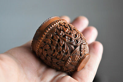 ⭐  ANTIQUE JEWERLY,ROSARY BOX - hand carved Corozo Nut⭐