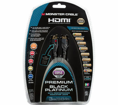 3m Premium HDMI Cable Monster® UltraHD 4K Black Platinum Ultimate H Speed 27Gbps