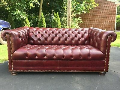 Hancock Moore Tufted Chesterfield Sofa Loveseat In Red Oxblood