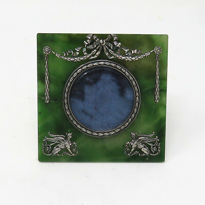 NYJEWEL Imperial Russian Nephrite Photo Picture Frame by Fabergé Silver Master