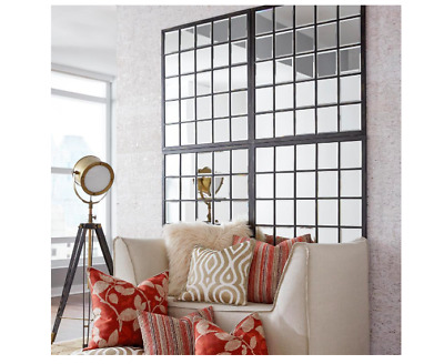 38 in. x 34 in. Home Interior Wall Decor Window Pane Framed Square Mirror
