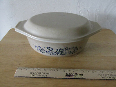 Vintage Pyrex Brown Speckled And Blue Print Casserole Dish W/lid 043 Corning