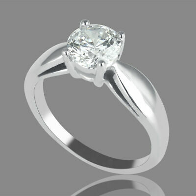 1/2 CT Solitaire Enhanced Diamond Engagement Ring Round Cut H/VS 14K White Gold