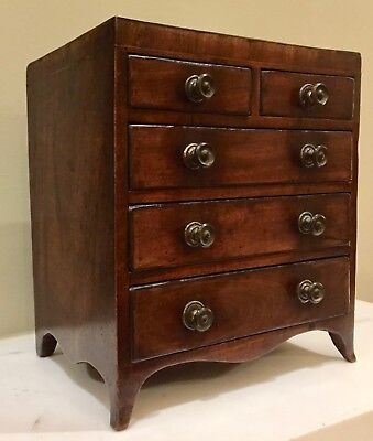 ANTIQUE Regency miniature mahogany chest of drawers - ALL ORIGINAL