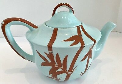 Vintage Hand Decorated Turquoise and Brown Bamboo 6 Cup Teapot