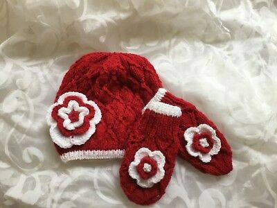 Hand Knitted Baby Hat And Mitten Set Red Lacy White Flower Age Newborn -18/24 M