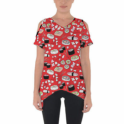 Sushi Cherry Blossom Cold Shoulder Tunic Top