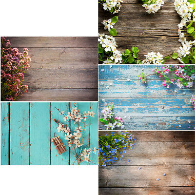 2x3ft/3x5ft Wood Floor Photography Backdrop Baby Studio Photo Flower Background