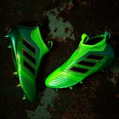 adidas Ace 17+ Purecontrol FG Mens Football Boots Soccer Green Laceless BB5950
