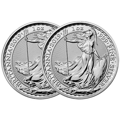 Lot of 2 - 2019 U.K. 2 Pound Silver Britannia .999 1 oz Brilliant Uncirculated