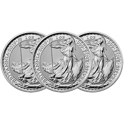 Lot of 3 - 2019 U.K. 2 Pound Silver Britannia .999 1 oz Brilliant Uncirculated