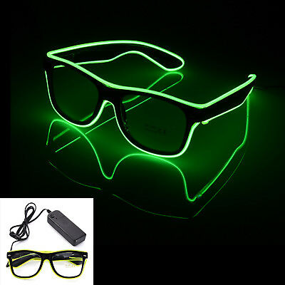 EL Wire Glasse LED Leucht Brille Shutter Jungesellenabschied Party Festival Grün