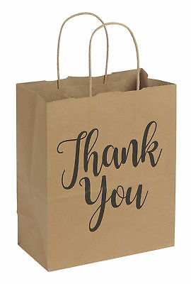 "100 Medium Kraft Thank You Paper Shopping Bags 8"" x 4 ¾"" x 10 ¼"" Retail Gift"