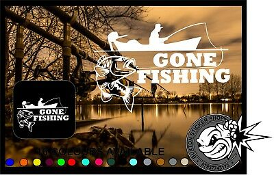 Gone Fishing Car Window bumper laptop sticker Vinyl Decal  angling fly Carp