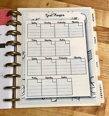 Two Week Meal Planner Two Sided Dashboard Insert for use with HAPPY Planner