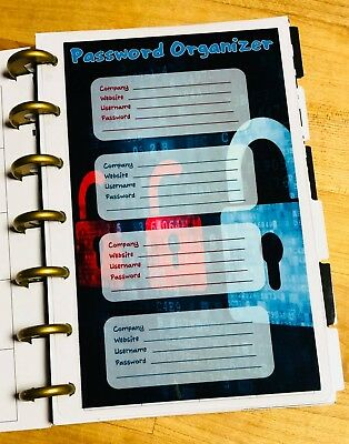 Password Organizer Dashboard Insert for use with the Mini Happy Planner