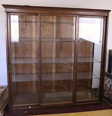 Wooden Antique Vintage China Cabinet Store Showcase Display Retail Lighted Glass