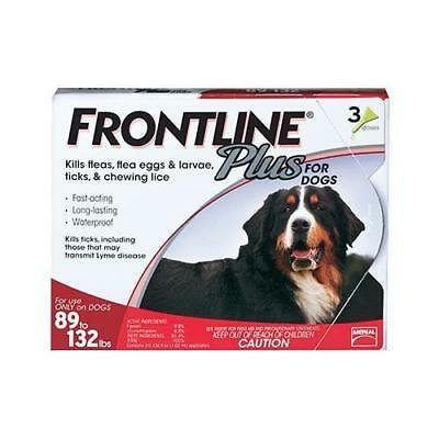 FRONTLINE Plus for Dogs 89 to 132 Lbs 3 Doses Flea Medicine Treatment NO BOX!!!