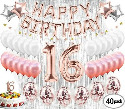 16th Birthday Decorations Party Supplies Sweet 16 Balloons Rose Gold