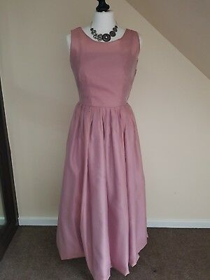 Vintage Laura Ashley Lilac Pink Full Skirt Dress size UK 10 Prom Party