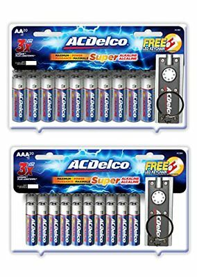 ACDelco AA and AAA Super Alkaline Batteries, 20 Count Each and 2 Bonus LED