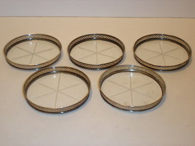 Vintage Set of 5 Webster Pierced Sterling Silver & Cut Glass Coasters 3""