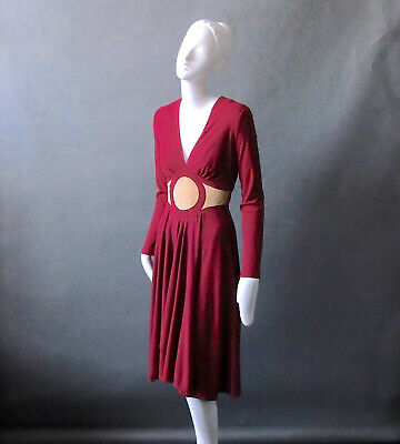 Vintage 1970s Mr Boots Limited Edition Burgundy Crepe & Leather Boho Dress sz S