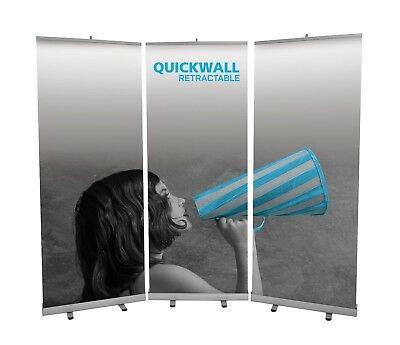 Set of 3 Quick Wall Exhibition Roller Banner Stands Backdrop Shell Scheme