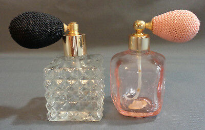2 Vintage Perfume Bottle Atomizers Irice Pink Crackle Glass + Clear Diamond